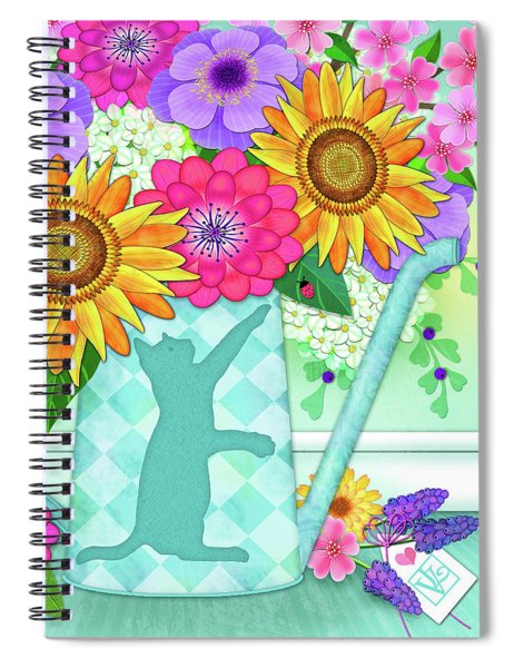 Flowers In Watering Can Spiral Notebook