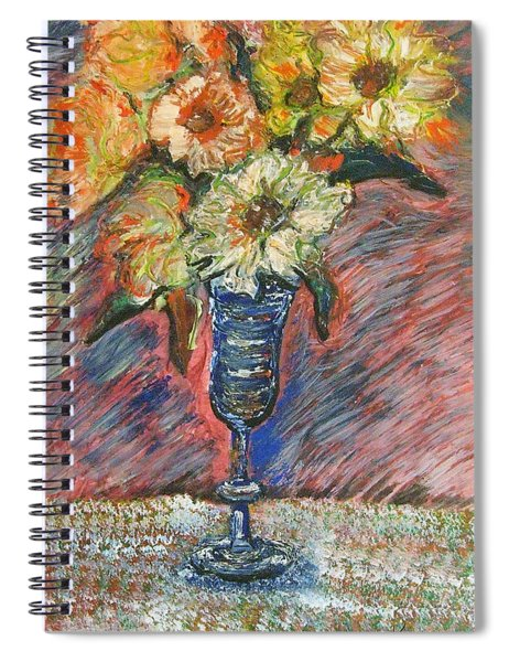 Flowers In Wine Glass Spiral Notebook