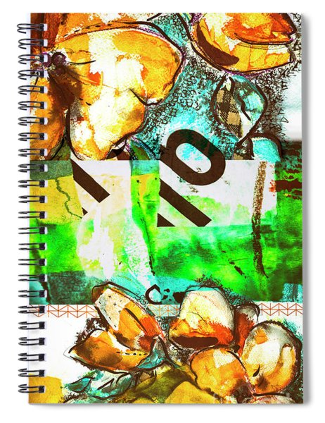 Flowers On Paper,  Collage And Acrylic Spiral Notebook