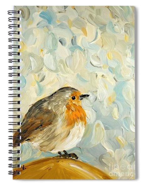 Fluffy Bird In Snow Spiral Notebook