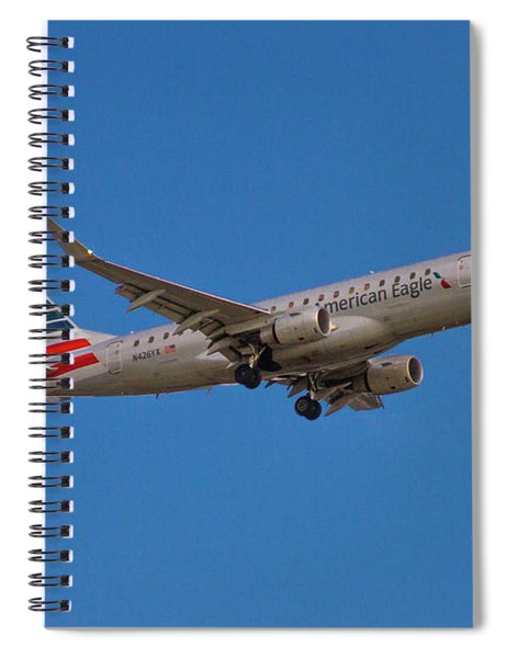 Flying In American Eagle Embraer 175 N426yx Spiral Notebook