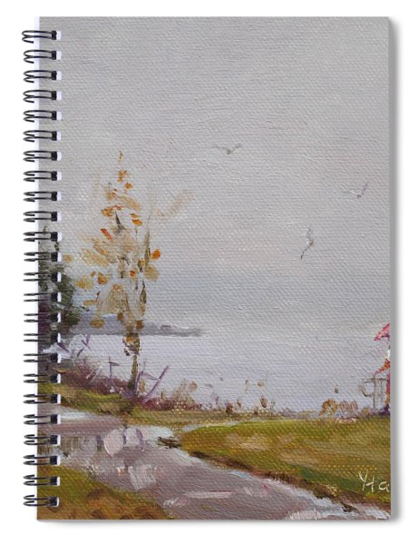 Fog And Rain At Gratwick Waterfront Park Spiral Notebook