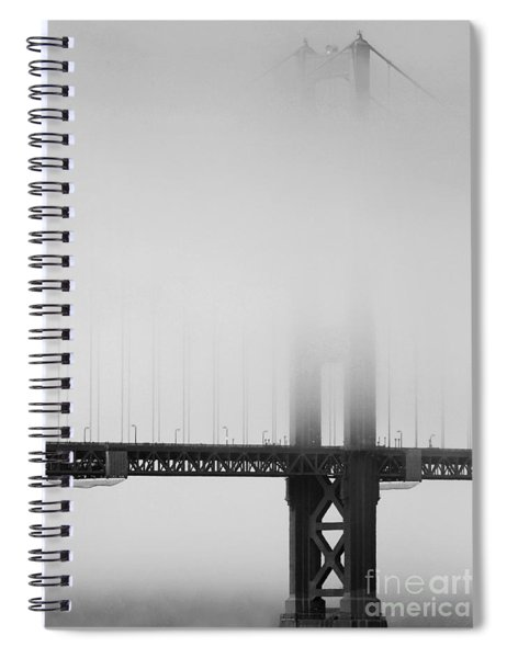 Fog At The Golden Gate Bridge 4 - Black And White Spiral Notebook
