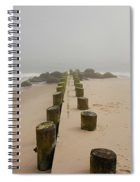 Fog Sits On Bay Head Beach - Jersey Shore Spiral Notebook