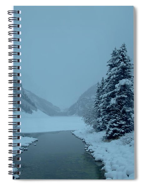 Foggy And Freezing At Lake Louise Spiral Notebook