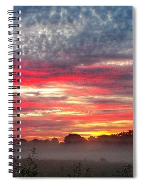 Foggy Carpet Over South Carolina Cattle Farm Spiral Notebook by Alex Grichenko