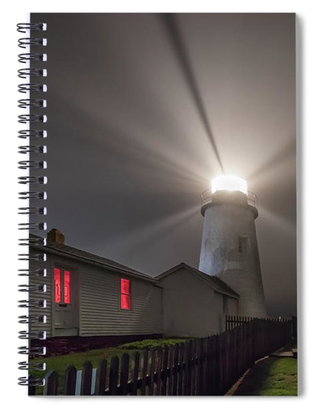 Foggy Night At Pemaquid Point Lighthouse Spiral Notebook