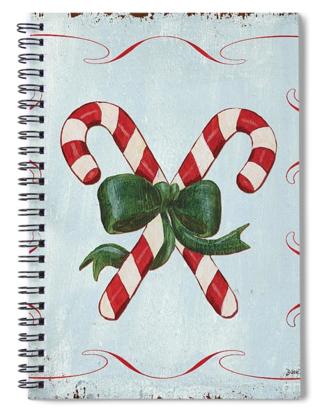 Folk Candy Cane Spiral Notebook