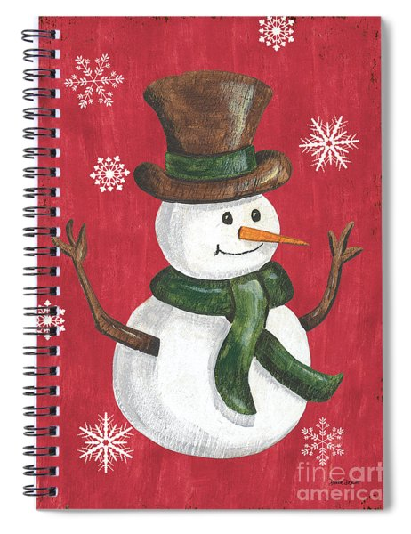 Folk Snowman Spiral Notebook