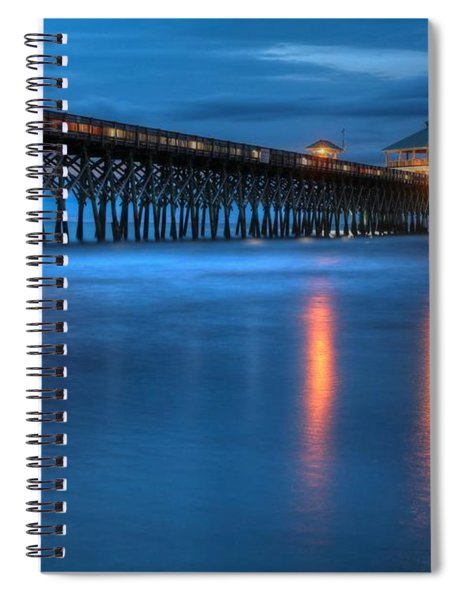 Folly Beach Pier At Blue Hour Charleston South Carolina Spiral Notebook