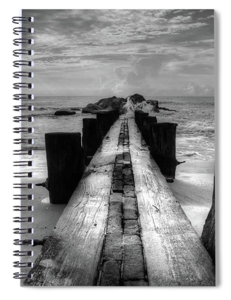 Folly Beach Pilings Charleston South Carolina In Black And White  Spiral Notebook
