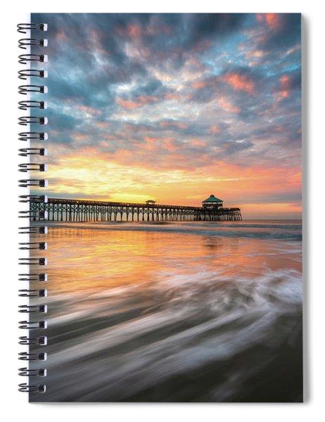 Folly Beach Sc Ocean Seascape Charleston South Carolina Scenic Landscape Spiral Notebook