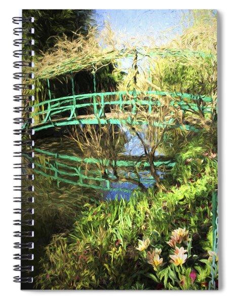 Foot Bridge Reflections In Monet's Garden Spiral Notebook