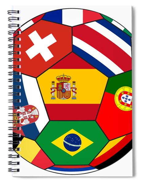 Football Ball With Various Flags Spiral Notebook