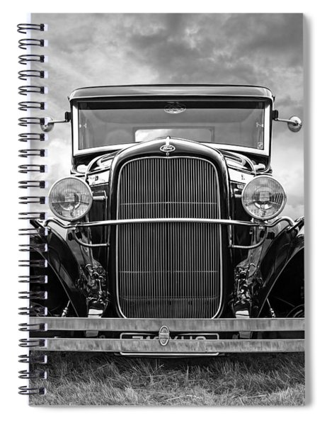 Ford Coupe Head On In Black And White Spiral Notebook