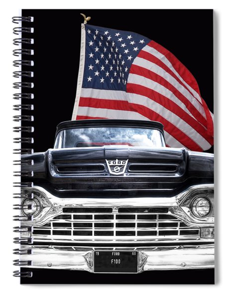 Ford F100 With U.s.flag On Black Spiral Notebook