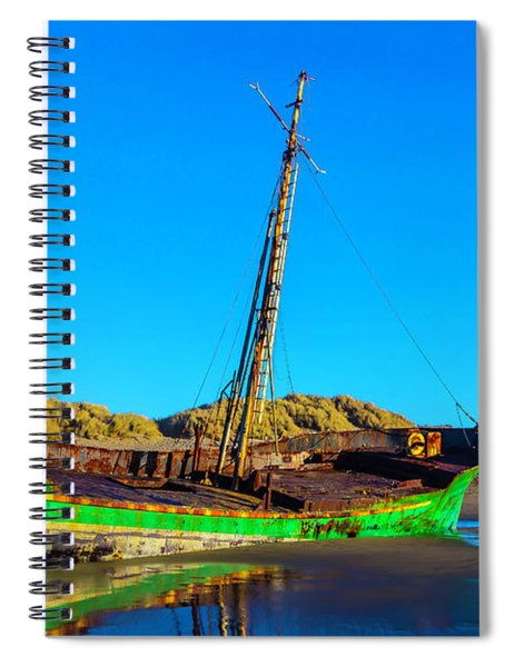 Forgotten Green Fishing Boat Spiral Notebook