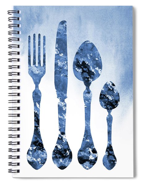 Fork Knife And Spoon-blue Spiral Notebook