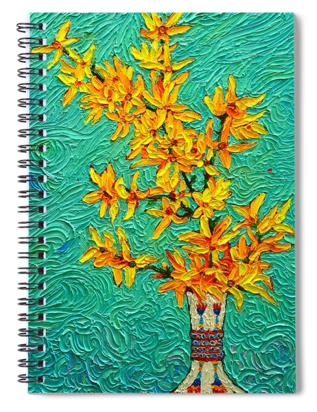 Forsythia Vibration Modern Impressionist Flower Art Palette Knife Oil Painting By Ana Maria Edulescu Spiral Notebook