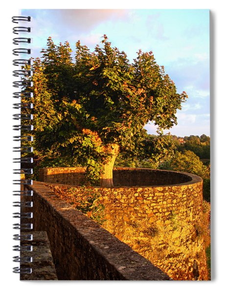 Fortress Tree At Sunset In Le Dorat Spiral Notebook