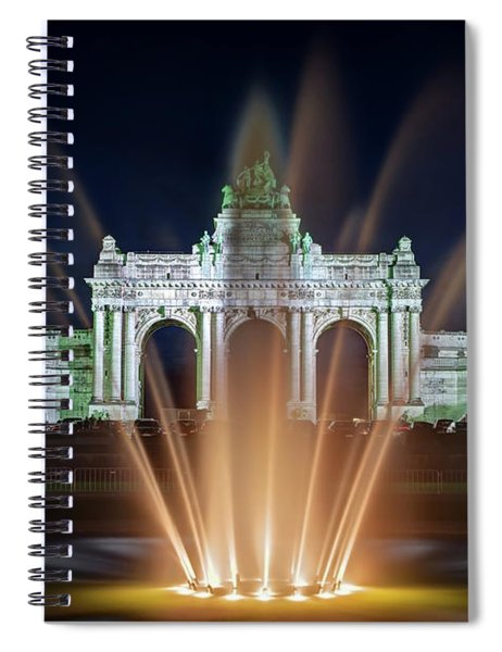 Spiral Notebook featuring the photograph Fountain In Parc Du Cinquantenaire - Brussels by Barry O Carroll