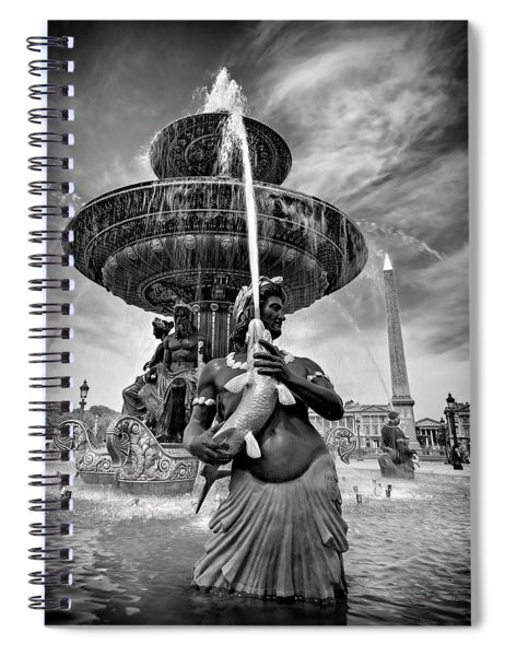 Spiral Notebook featuring the photograph Fountain On Place De La Concorde - Paris by Barry O Carroll