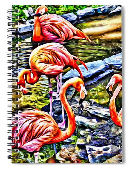 Four Pink Flamingos Spiral Notebook
