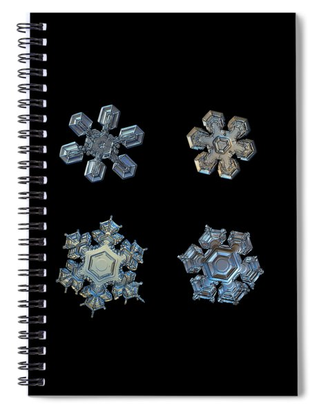 Four Snowflakes On Black 2 Spiral Notebook