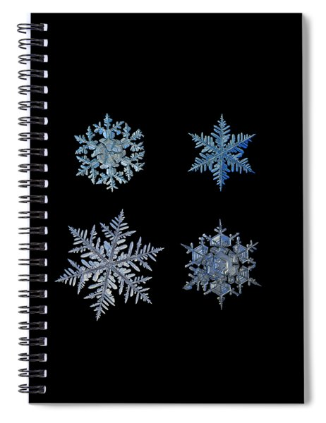 Four Snowflakes On Black Background Spiral Notebook