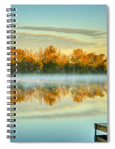 Fox River Above Mchenry Dam At Sunrise Spiral Notebook