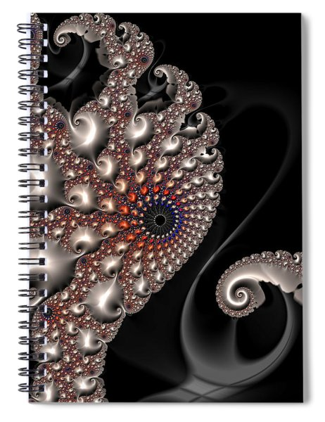 Fractal Contact - Silver Copper Black Spiral Notebook