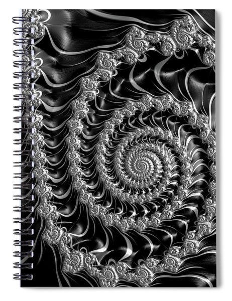 Fractal Spiral Gray Silver Black Steampunk Style Spiral Notebook