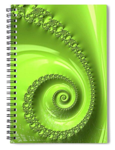 Fractal Spiral Greenery Color Spiral Notebook