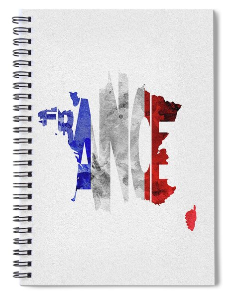 France Typographic Map Flag Spiral Notebook