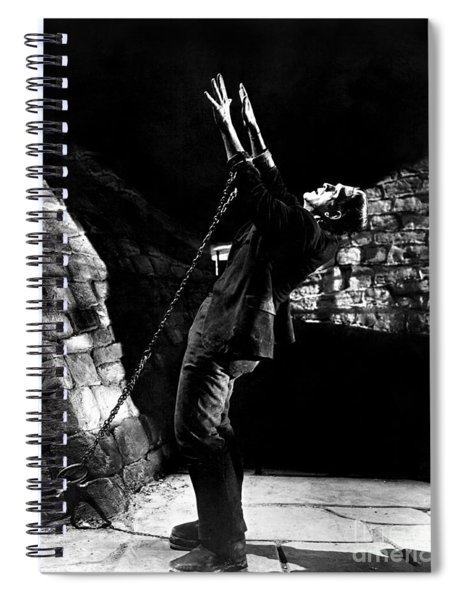 Frankensteins Monster Chained The Castle Played By Boris Karloff Spiral Notebook
