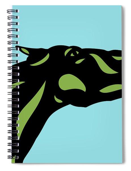 Spiral Notebook featuring the digital art Fred - Pop Art Horse - Black, Greenery, Island Paradise Blue by Manuel Sueess