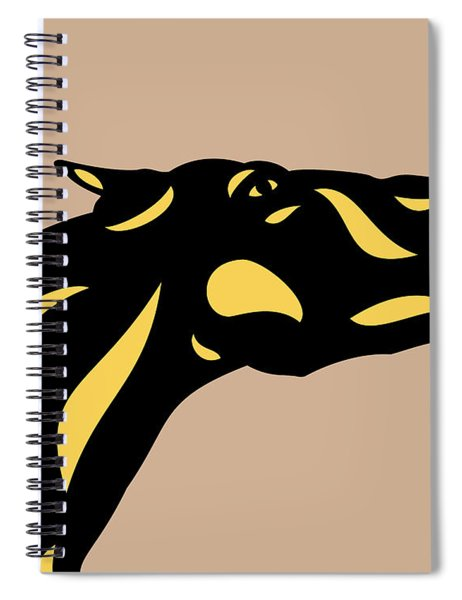 Spiral Notebook featuring the digital art Fred - Pop Art Horse - Black, Primrose Yellow, Hazelnut by Manuel Sueess