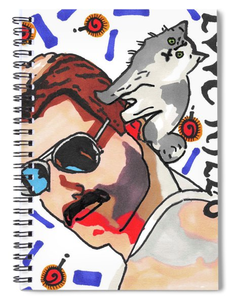Freddie Mercury Pop Art Painting With His Cat Tiffany Spiral Notebook