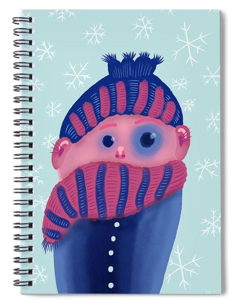 Freezing Kid In Winter Spiral Notebook