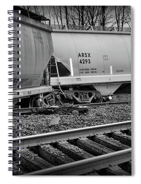 Freight Train Wreckage In Black And White Spiral Notebook