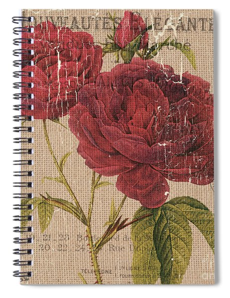 French Burlap Floral 3 Spiral Notebook