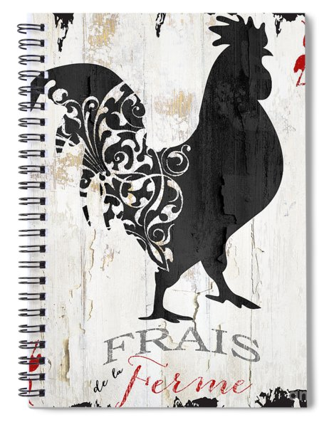 French Farm Sign Rooster Spiral Notebook