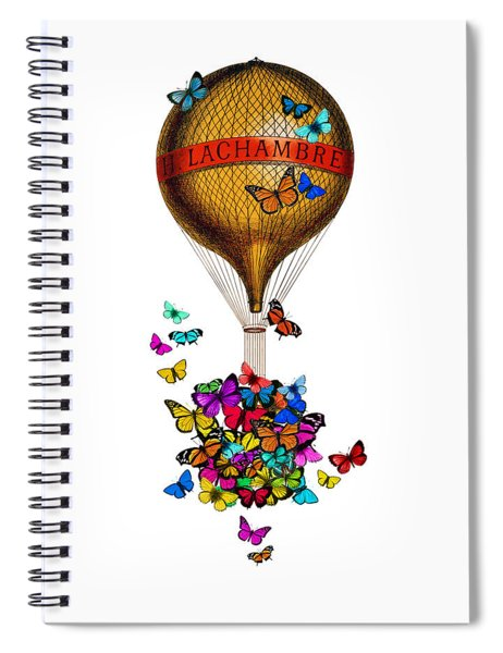 French Hot Air Balloon With Rainbow Butterflies Basket Spiral Notebook