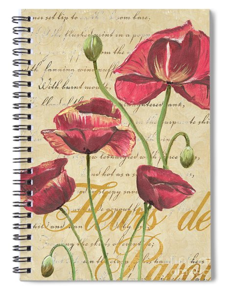 French Pink Poppies Spiral Notebook