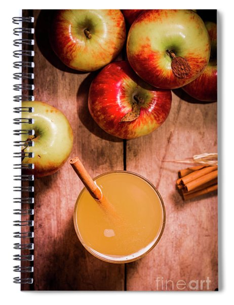 Fresh Apple Cider With Cinnamon Sticks And Apples Spiral Notebook