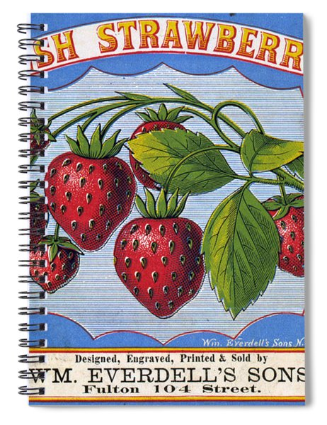 Fresh Strawberries Fruit Label Spiral Notebook