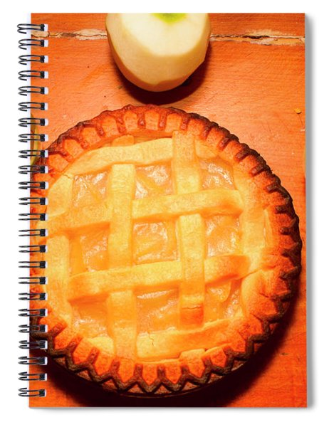 Freshly Baked Pie Surrounded By Apples On Table Spiral Notebook