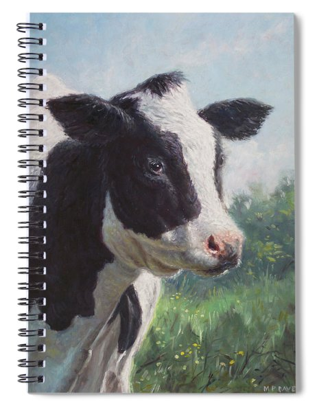 Spiral Notebook featuring the painting Friesian Cow Portrait by Martin Davey