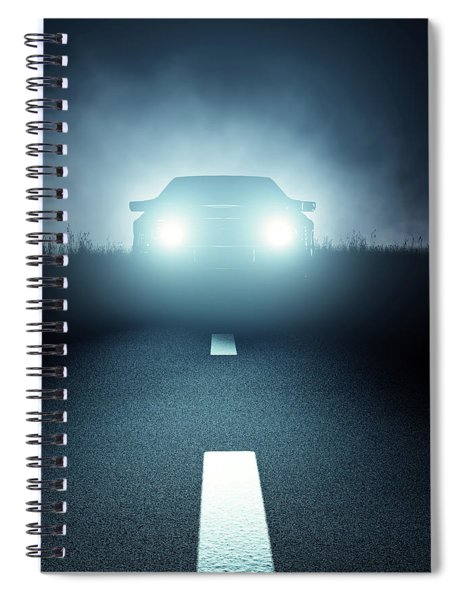 Front Car Lights At Night On Open Road Spiral Notebook