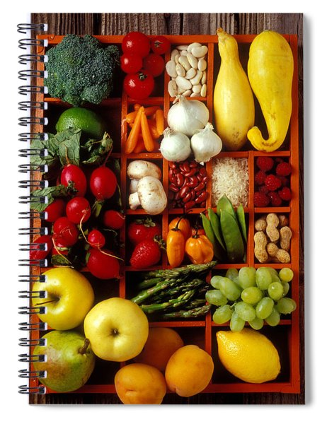 Fruits And Vegetables In Compartments Spiral Notebook